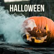 Grafika na Facebooka i Instagrama. Na grafice zdjęcie dyni wydrążonej na Halloween. Z otworów leci dym. Tekst: Halloween. Darmowe grafiki. Www.migato.pl