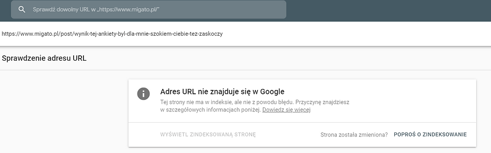 Zrzut ekranu z Google Search Console pokazujący jak pozycjonować i optymalizować stronę pod SEO.