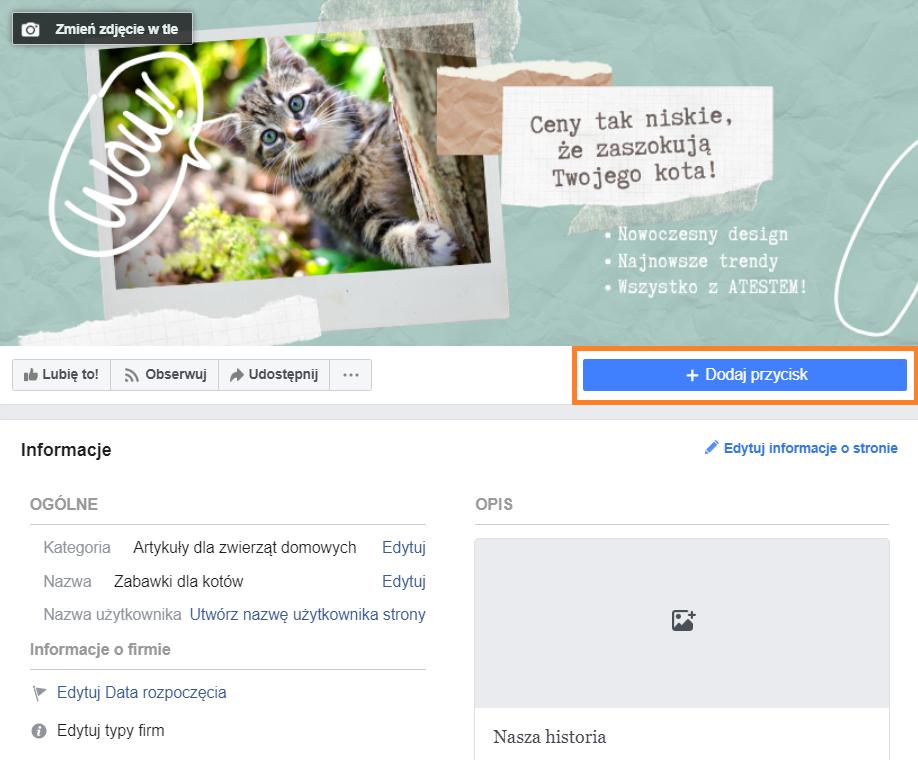 Screen ze strony na Facebooku.  Instrukcja, jak założyć własny fanpage na Facebooku krok po kroku.