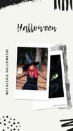 Relacja Insta Story na Instagramie. Maźnięcia pędzlem i flamastrem. Zdjęcia z polaroida. Na zdjęciu czarownica, ładna dziewczyna, ma różowe włosy, pozuje w lesie. Na drugim zdjęciu czarny kot z zielonymi oczami. Tekst: Halloween! Wesołego Halloween! @migatomedia