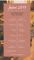 Grafika do relacji Instastory na instagrama. W tle jesienna ścieżka pokryta kolorowymi liśćmi. Brązowe pole, a w środku napis białą czcionką: Jesień 2019. Darmowe grafiki na https://migato.pl