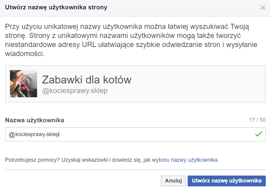 Na zdjęciu screen z Facebooka. Strona Zabawki dla kotów. Instrukcja jak założyć stronę na Facebooku krok po kroku.