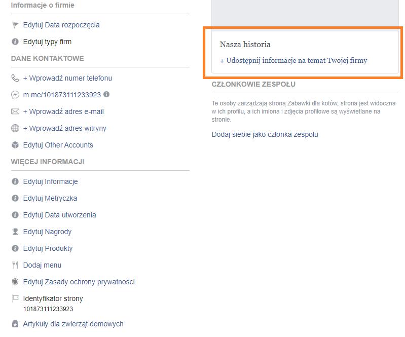 Zrzut ekranu na Facebooku. Historia strony na Facebooku.  Instrukcja, jak założyć własny fanpage na Facebooku.