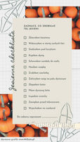 Grafika na insta story na instagramie. Dwa zdjęcia przedstawiające dynie, rysunki liści i tekst na beżowym polu: kupiłam dynię, schowałam sandały do szafy, piłam dyniową latte. Jesienna checklista. Darmowe grafiki na https://migato.pl