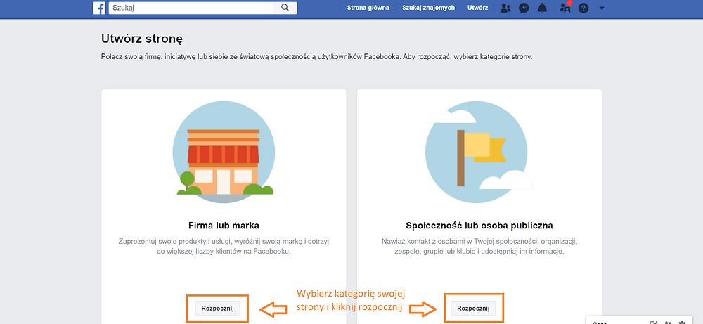 Zrzut ekranu. Na ekranie strona Facebook. Instrukcja, jak założyć fanpage na Facebooku
