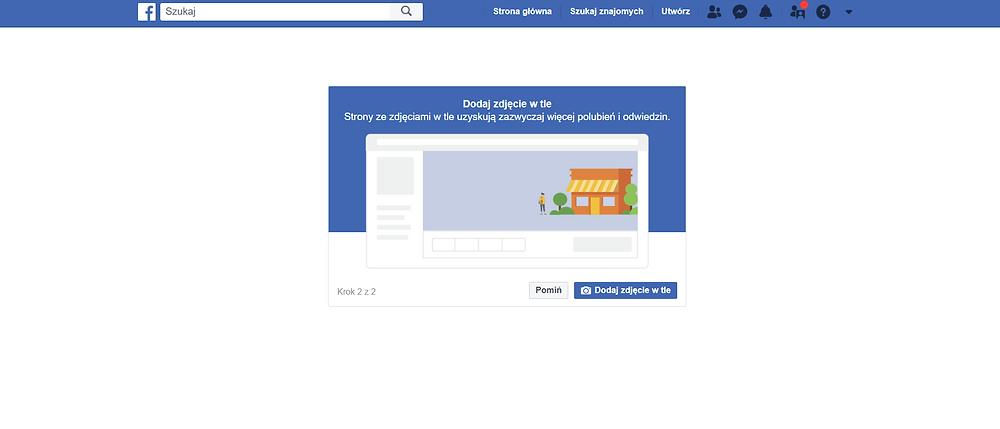 Na zdjęciu screen, zrzut ekranu, przedstawiający stronę na facebooku. Instrukcja, jak założyć stronę na Facebooku