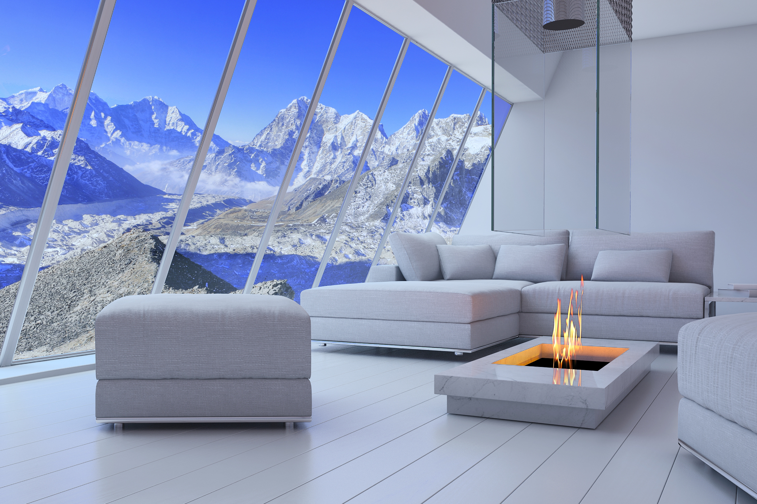White 3D interior room with fireplace an