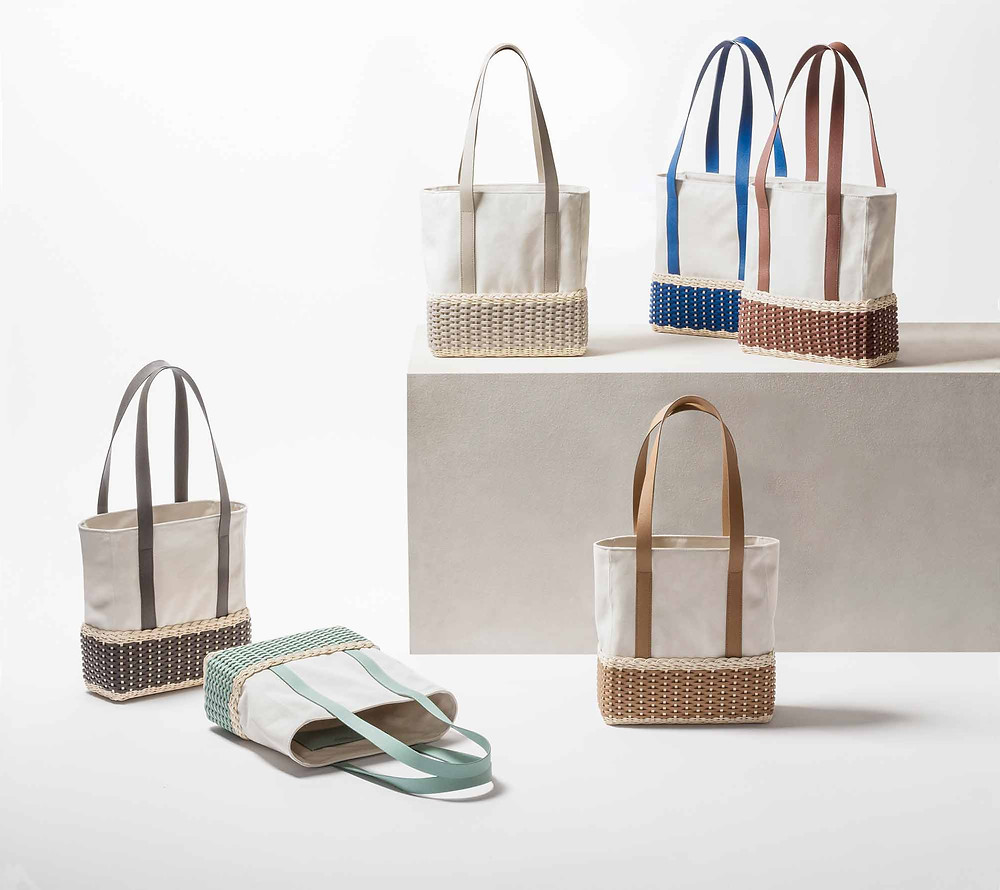 Group of Talais cotton and leather shopping bags by Pigment France