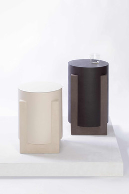 Leather covered Palazzo side table / stool by GioBagnara