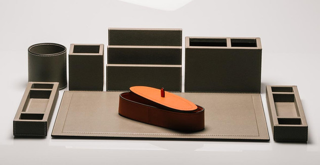 Leather desk sets from GioBagnara