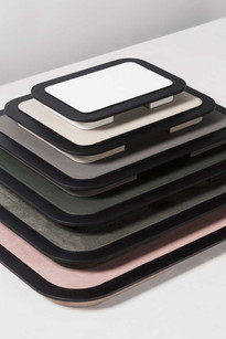 Stack of Lloyd trays with leather detailing