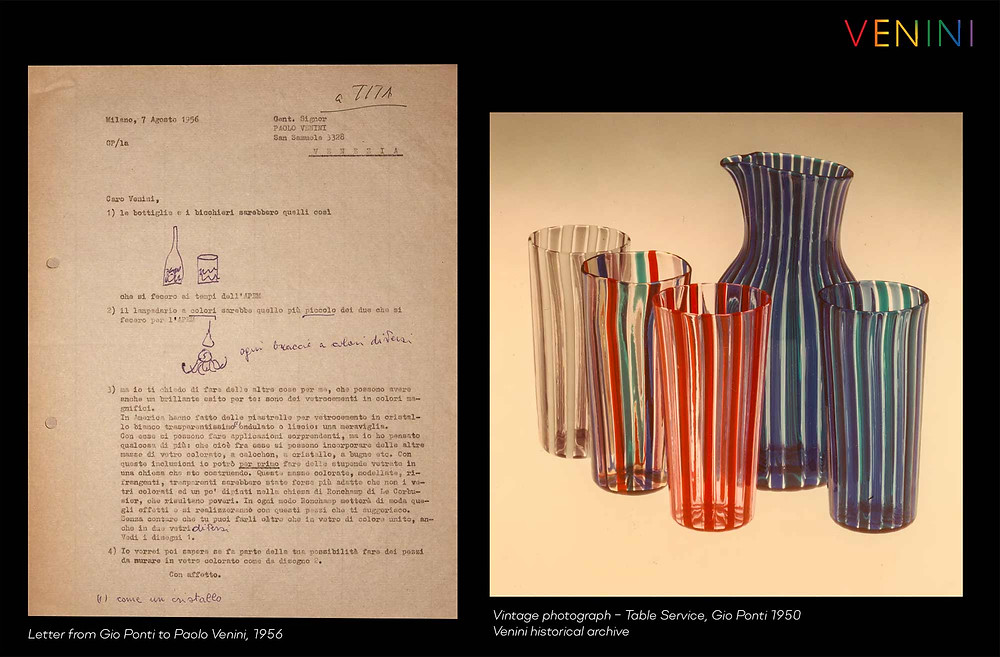 Letter from Gio Ponti to Paolo Venini, 1956 and a vintage photograph from the Venini archive