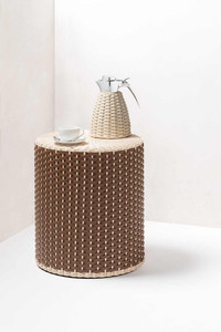 Pigment France stool with rattan and woven leather