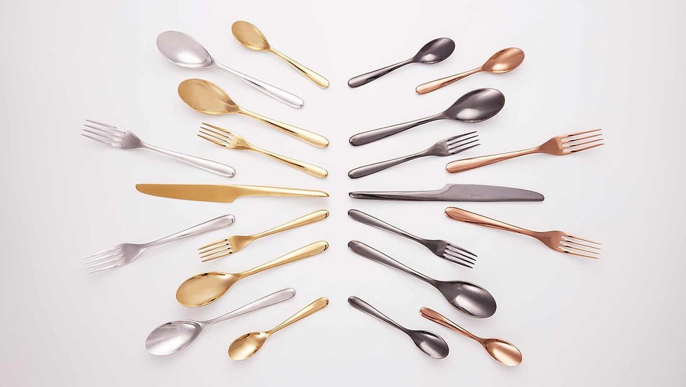 L'Ame de Christofle cutlery in stainless steel, gold, rose gold and black PVD finishes.