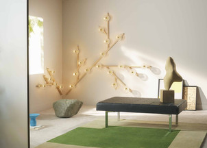 Modular Folia crystal wall light in natural wood