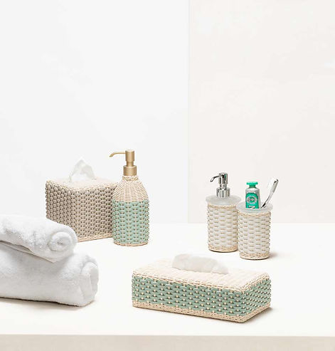 Pigment France bathroom collection in natural rattan and leather weave