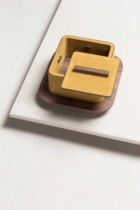 Lloyd box finished in mustard suede