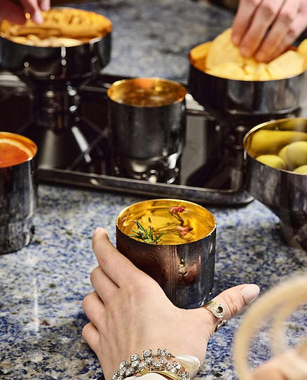 Barock titanium goblets and nibble bowls from GIOI by Zanetto