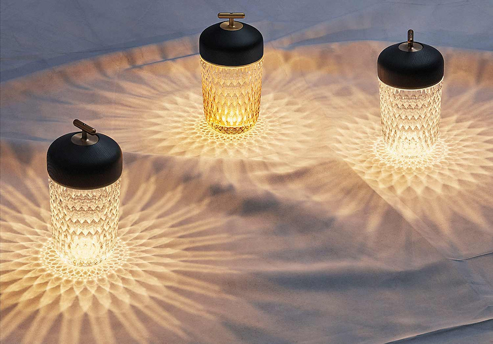 Saint-Louis Folia Portable lights in amber, clear and satin crystal with black wood finish