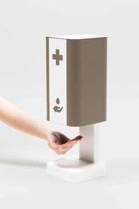Table top leather-covered hand sanitising station in bicolour design