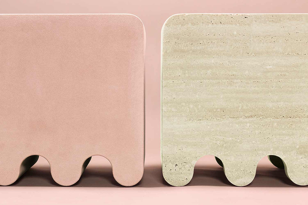 Ossicle stools in suede and travertino marble designed by Francesco Balzano for GioBagnara