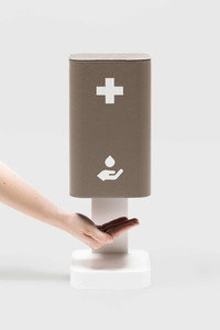 Table top leather-covered hand sanitising station in monocolour design