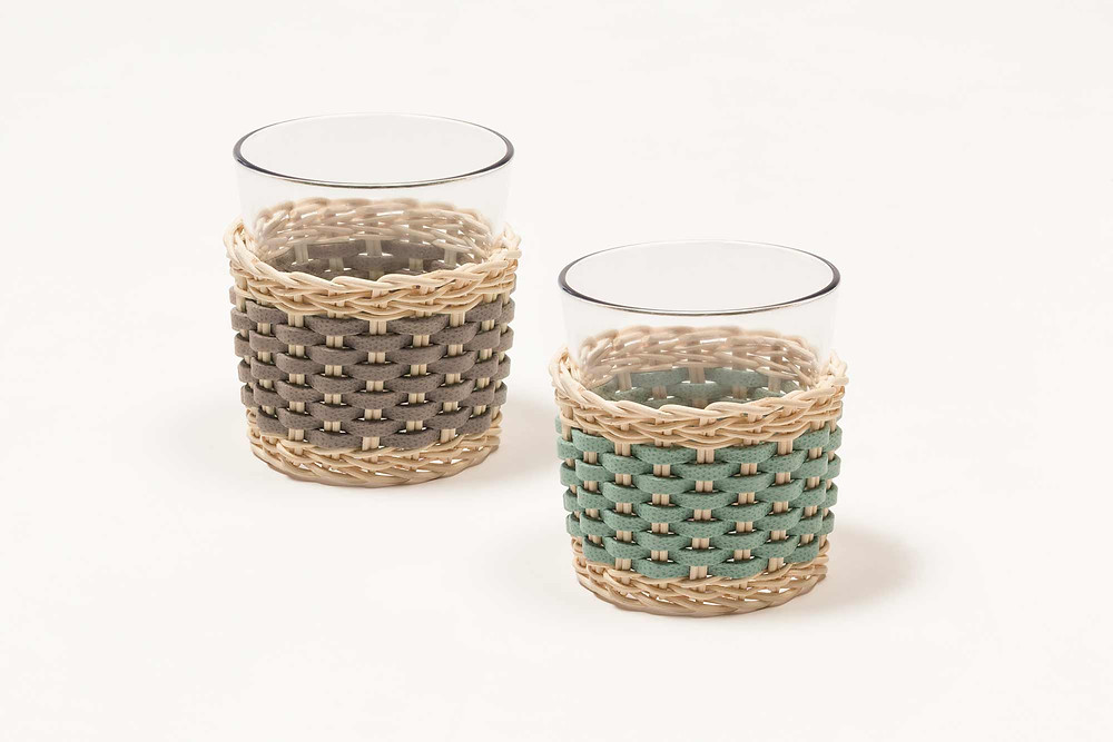 Annecy woven leather & rattan cups by Pigment France for GioBagnara