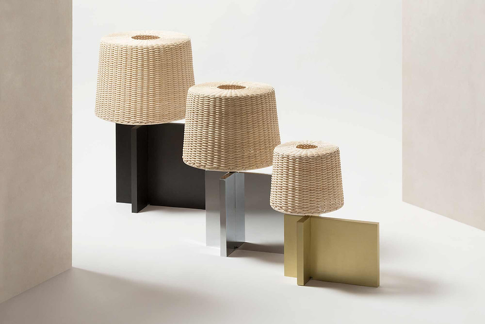 Group of Lipari lamps designed by Stephane Parmentier for GioBagnara, with bases in bronze, chrome and brass.