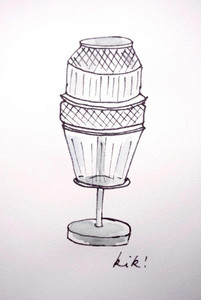 Sketch by Kiki van Eijk of the Matrice table lamp with Chrome detail