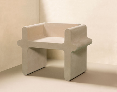 Ossicle Chair by Francesco Balzano for GioBagnara, realised in suede
