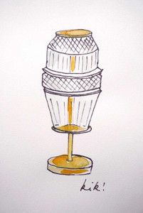 Sketch by Kiki van Eijk of the Saint-Louis Matrice table lamp with brass detail