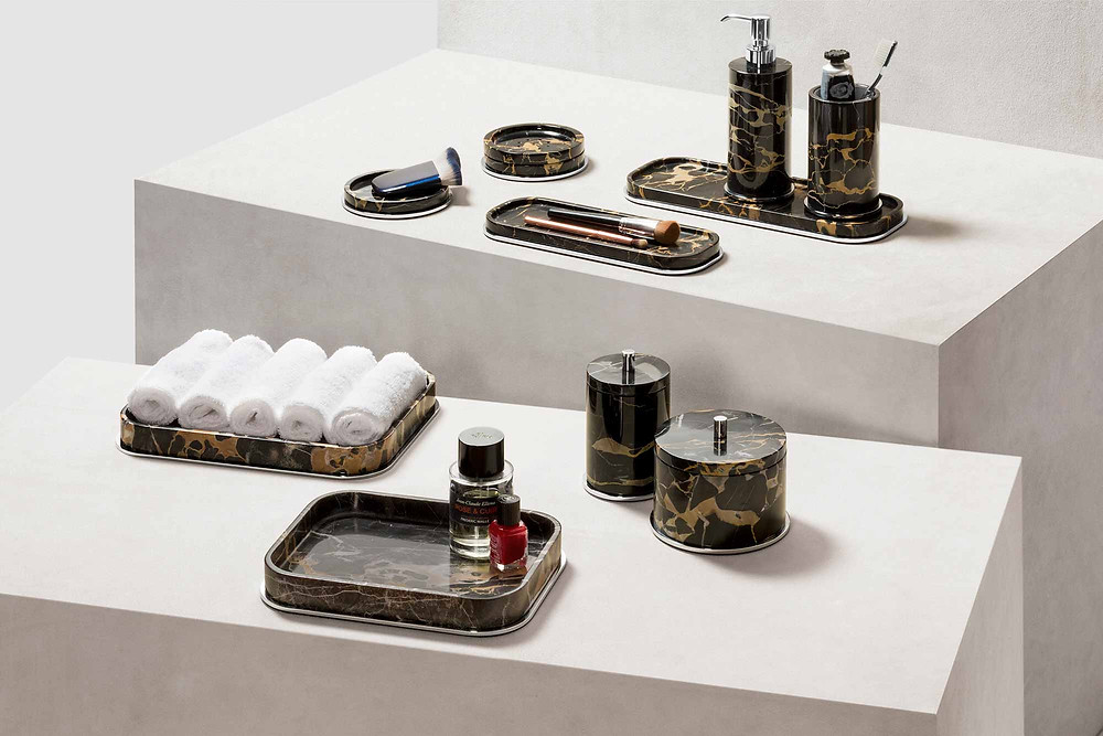 Positano marble bathroom set in brown by GioBagnara