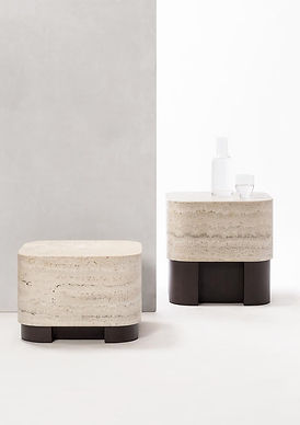 Lloyd side tables in travertine and walnut