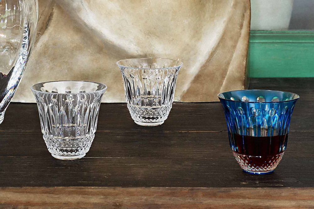 Saint-Louis Tommy Coffee Goblets in clear and blue crystal