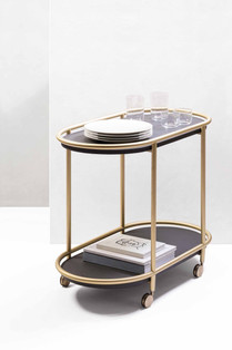 Arcade trolley with brushed brass finish by GioBagnara