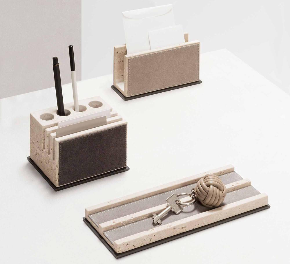 Latina marble desk set in travertine marble from GioBagnara