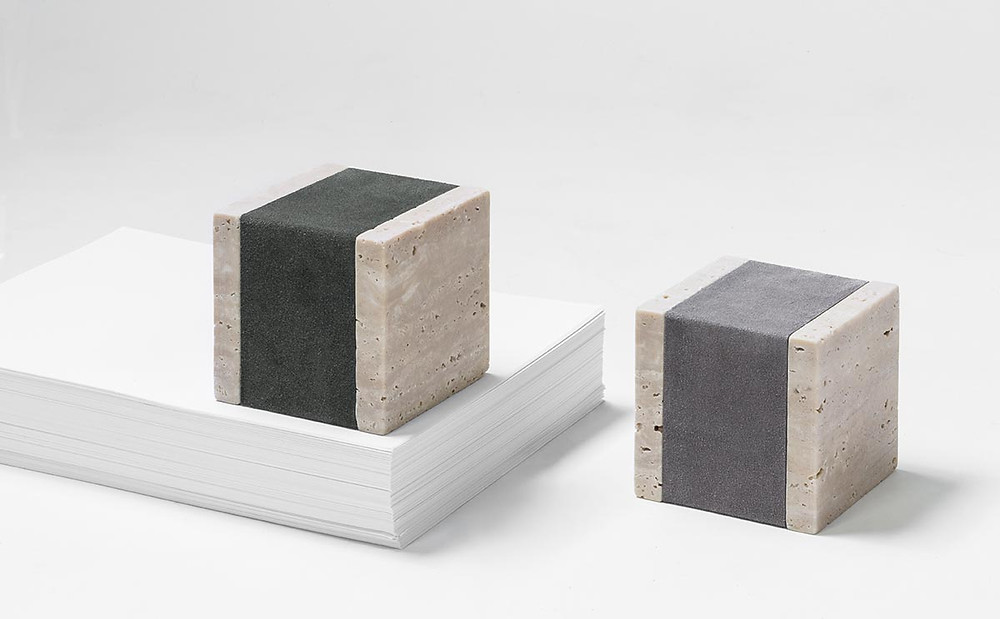 Carlo travertine and leather paperweight
