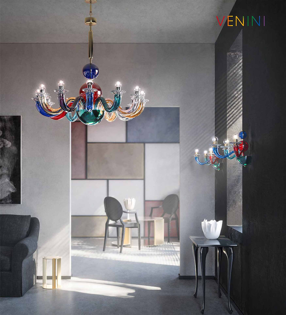 Photograph of the Gio Ponti Colour chandelier and wall lights