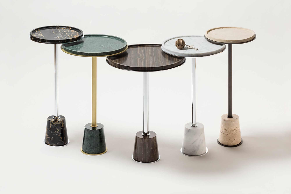 Group of Sorrento side tables in marble by GioBagnara