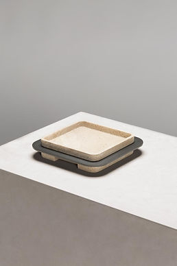 Lloyd trays with travertine and wood detail