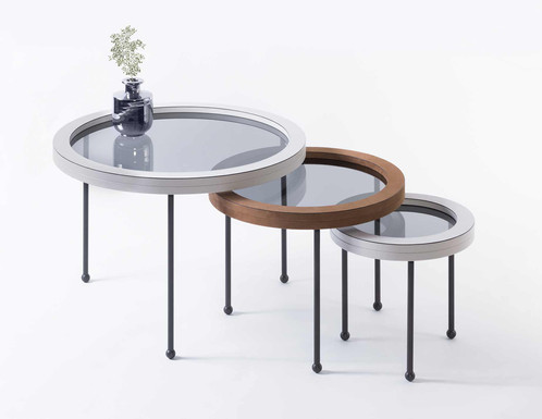 Augustus nest of tables, adorned in Italian leather with letal legs and glass tabletop by GioBagnara