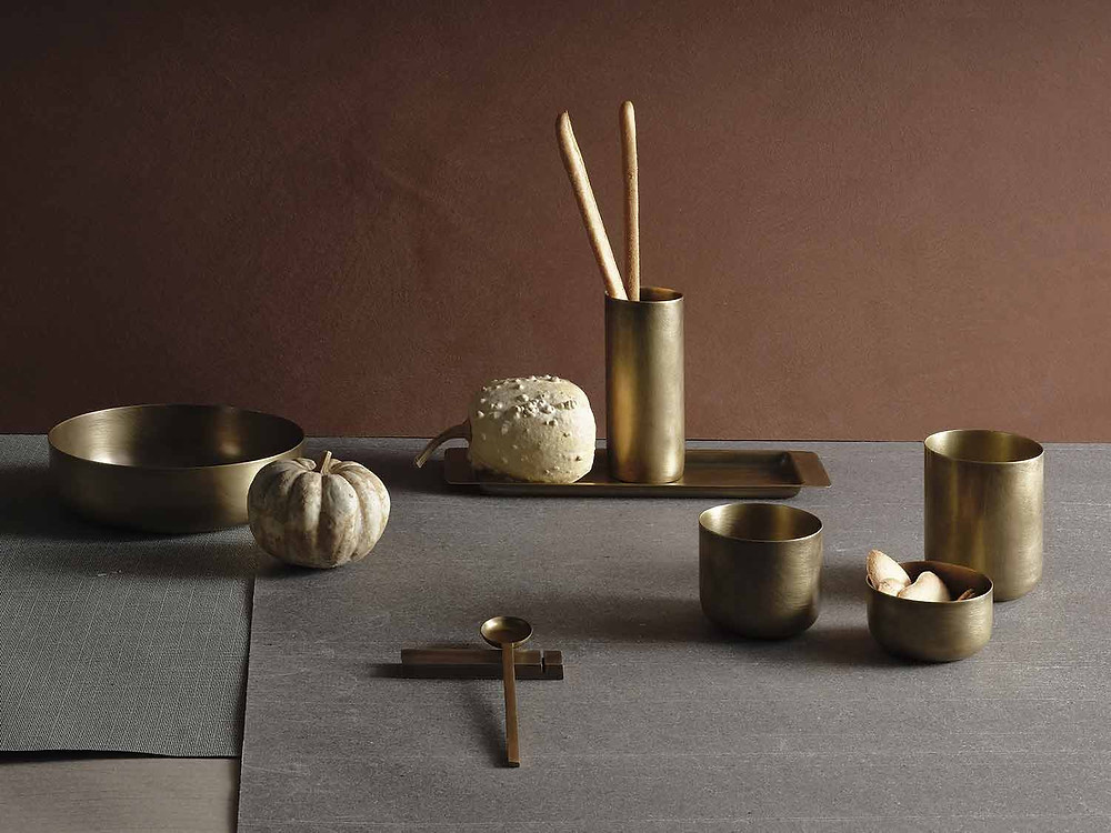The Zanetto New York collection pictured in brass