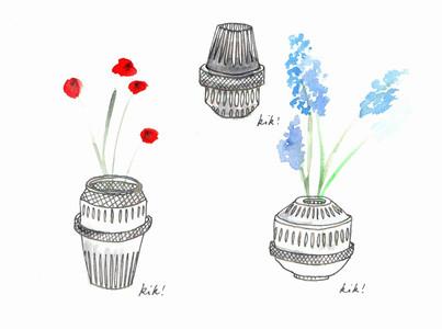 Sketch of the Matrice vases for Saint-Louis by Kiki van Eijk