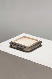 Lloyd square tray with travertine designed by Glenn Sestig