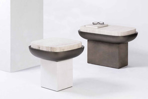 Olympia side table, with travertino marble top by Stephane Parmentier for GioBagnara