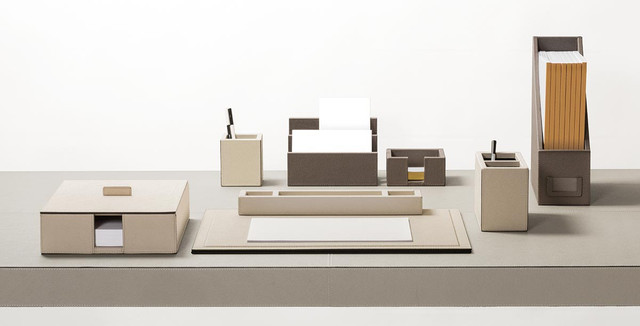 Made to order leather desk set from GioBagnara