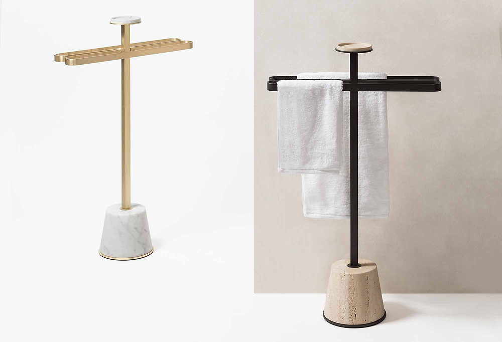 GioBagnara's Philippe towel rack with marble base and metal detailing