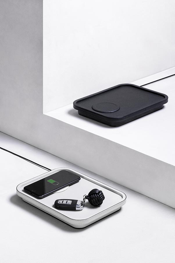 Polo wireless charging stations in leather featuring integrated valet tray and Qi-certified wireless charging pad