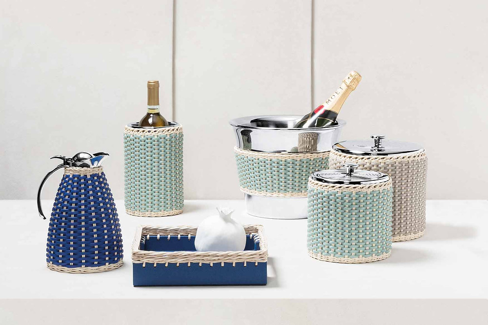 Pigment France items featuring rattan and woven leather