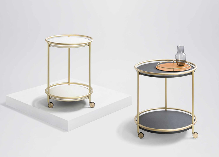 Arcade round trolley with brushed brass finish and calfskin golf detailing by GioBagnara